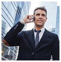 Businessman on Cell Phone, Voice Services, San Francisco Bay